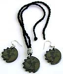 Fashion Bali silver beaded black cotton cord necklace and earring set with hematite sun moon pendant, silver bead CAD slide up or down to adjustable fit