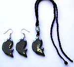 Fashion Bali silver beaded black cotton cord necklace and earring set with hematite fish pendant, silver bead CAD slide up or down to adjustable fit