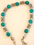 Bali silver beads and round cut turquoise beads forming fashion braceletAssorted color