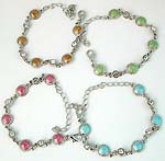 Enamel assorted color round cut beads forming fashion chain bracelet