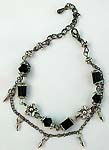 Flower motif double black chain fashion bracelet with black glass bugle beads connected