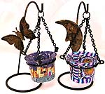 Assorted color and design butterfly / moon pattern suspending style fimo iron candle holder