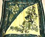 Dark green and yellow color floral design large square polyester scarf