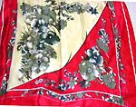 Red white color scene grey flower pattern large square polyester scarf