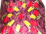 Purple background motif red and yellow flower design large square polyester scarf
