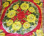 Yellow sun flower in red circle park design large square polyester scarf