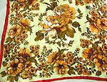 Vert green background with brown floral design pattern large square polyester scarf