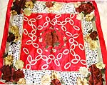 Flowery pattern desing with Celtic knotwork center holding red rose motif fashion large square polyester scarf