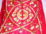 Celtic sun moon pattern on fire red background fashion large square polyester scarf