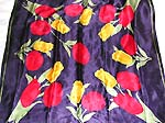 Dark blue large square polyester scarf with red yellow flower decor
