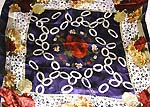 Flowery pattern desing with Celtic knotwork at color blue center holding red rose motif fashion large square polyester scarf