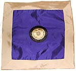 Golden edge surrounding dark blue tone middle section with majestic symbol design fashion polyester cushion cover