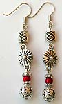 Bali silver rounded beads and shell pattern fashion fish hook earring with a rounded red faux stone embedded