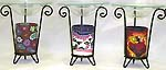 Assorted color and design fimo iron candle holder and burner with a glass plate on top