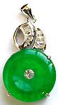 Rounded Imitation jade forming fashion pendant with clear cz stone on top