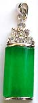Cylinder shape pattern imitation jade forming fashion pendant with clear cz stone on top
