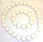 Smooth finishing multi pure white rounded plastic beads forming stretchy fashion necklace and bracelet set