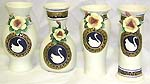 Hand painting swan design assorted apttern fashion ceramic vase set, set of 4 pieces