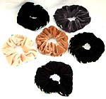Assorted color velvet fabric srunchies, handmade from Bali, Indonesia