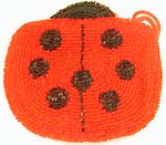 Red lady bug design fashion beaded purse