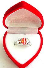 heart red ring display jewelry gift box