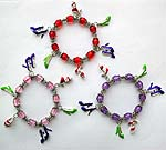 Assorted color beads strecthy charm bracelet with high-heel pattern