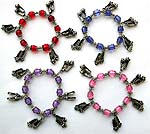 Assorted color beads strecthy charm bracelet with shoes pattern