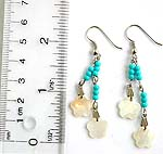 Blue sead beaded fashion earring with seashell snowflake pattern
