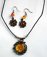 Cotton black rounded cord fashion necklace and earring set with rounded imitation amber