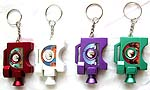 Assorted color and design light on camera style key chain