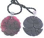 Cotton black cord fashion necklace with assorted design hand carved agate stone pendant