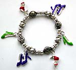 Sterling silver beaded strecthy charm bracelet with assorted color high-heel patternpattern