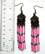 Fashion earring with metal flower shape pattern holding multi pink color beaded dangle