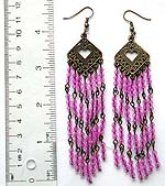 Fashion earring with metal cut-out heart shape pattern holding multi purple color beaded dangle