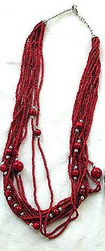 Tibetan style, tribe multi mini red beaded strings fashion necklace embedded with bigger red bead along the strings