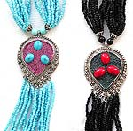 Tibetan style, tribe fashion necklace with multi blue beaded strings and up-side-down blue beaded tear-drop shape pendant