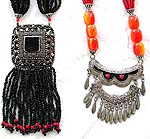 Tibetan style, red beaded strings tribe fashion necklace with imitation amber stone and metal pendant