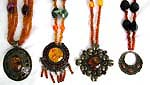 Fashion imitation amber necklace with assorted color and design metal pendant, sead beads, lobster clap