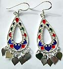 Assorted enamel colored central-empty tear-drop motif sterling silver earring holding multi heart pattern on bottom