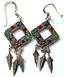 Assorted enamel colored central-empty sterling silver earring holding leaf pattern on bottom