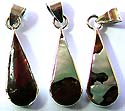 Assorted color seashell embedded enlonging tear-drop pattern sterling silver pendant