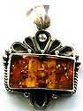 Fan shape sterling silver pendant with retangular faux amber