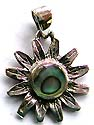 Sun flower pattern sterling silver pendant with rounded abalone seashell embedded in middle