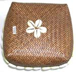 Brown retan box with flower seashell beaded on top and around edge