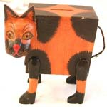 Tan black color wooden cat money bank