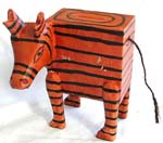 Brown zebra wooden money bank