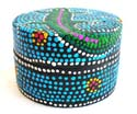 Blue Batik dotted circular wooden box with gecko decor on top