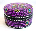 Purple Batik dotted circular wooden box with flower decor on top