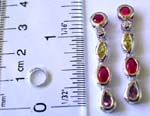 Fashion stud earring in 5 assorted shape color cz embedded, string dangle pattern design