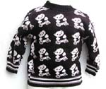 Kids knit rib sweater in assorted pattern design, black rib knit at neck, cuffs and bottom